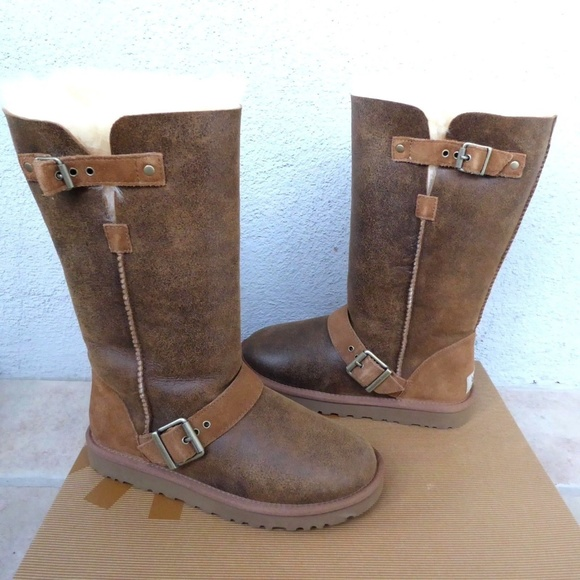 d8af707a0dc79 NEW Dylyn Classic Tall Sheepskin Buckle Moto Boots
